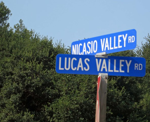 Sky Walker Ranch is appropriately located on Lucas Valley Road. (The road was there before George Lucas built his ranch there, however. Maybe the road inspired Lucas's choice.)