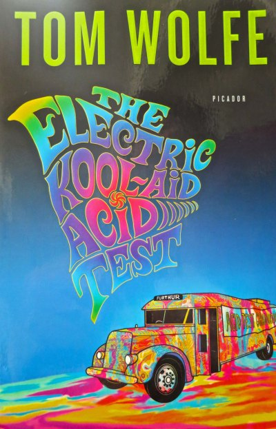 The cover of Tom Wolfe's book The Electric Kool-Aid Acid Test featuring the bus Further.