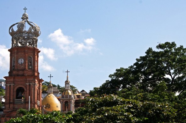 Puerto Vallarta's iconic cathedral is one of many sights looking inland from the Malecon.
