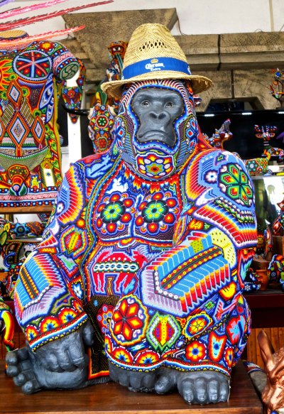 Anybody want to buy a great ape? This big fellow is decorated with thousands of beads, Huichol Indian style. The shop was packed full of Huichol art. Peggy bought a small turtle. Apparently the ape was a little large to carry home on the plane.