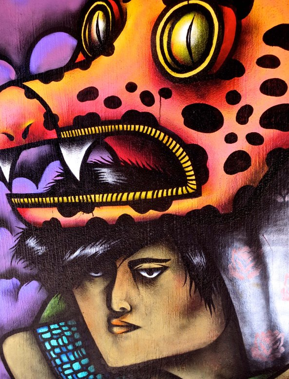 2. Shape shifting mural mask in Puerto Vallarta