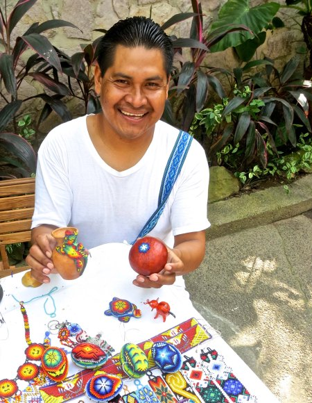 3. Huichol artist ion the Rio Cuale in Puerto Vallarto