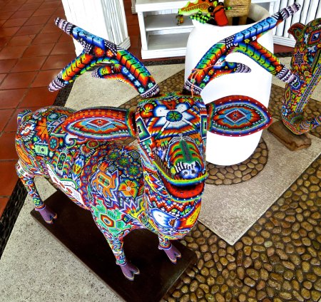 Deer are fast, a good choice if you have to get somewhere in a hurry. This Huichol deer is covered with beads that make up symbols that relate to the Huichol's belief system.