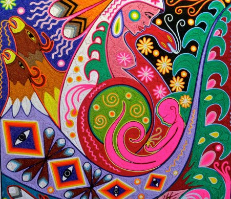 In this Huichol string painting, I couldn't help but believe that even the baby was shape shifting. A squid, perhaps?