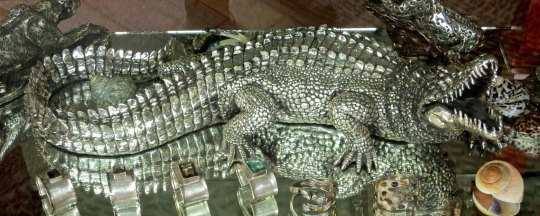 I found this three foot alligator in Old Town Puerto Vallarta, but similar silver gifts are available along the Malecon. Armed guards were outside and inside the store.