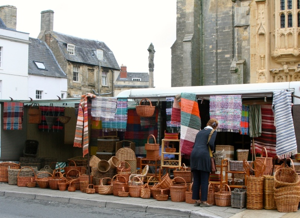 Basket market in Cirencester, a city founded by the Romans.