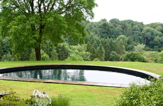 Reflection and swimming pool.