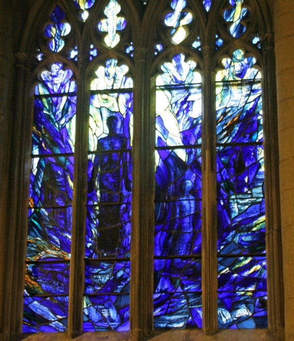 One of the modern stained glass windows.