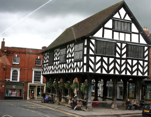 The market in Ledbury, a photo taken from the bus as we left town.