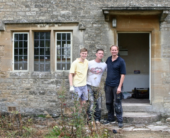 These are the three men who welcomed us into the cottage they were renovating. They were such fun I promised them I would post their photo!