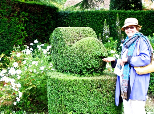 Jane and a sculptured hedge.