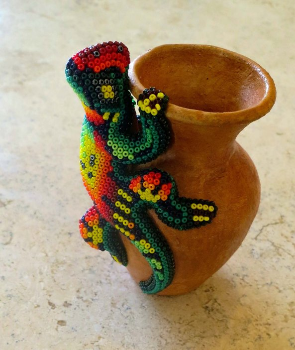 This small vase with a beaded iguana was made by our friend, Ernesto, a Huichol Indian, for our grandson Ethan whom he had met two years ago.