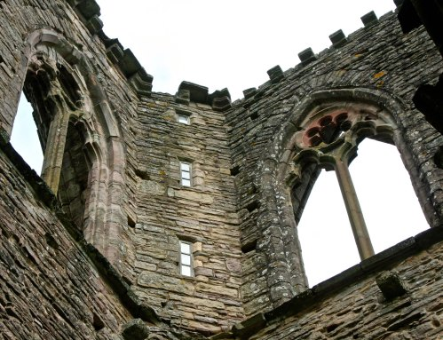The two small windows in the middle are the only training original windows in Tintern Abbey.