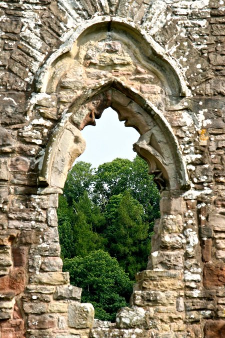 Tintern Abbey window view in England