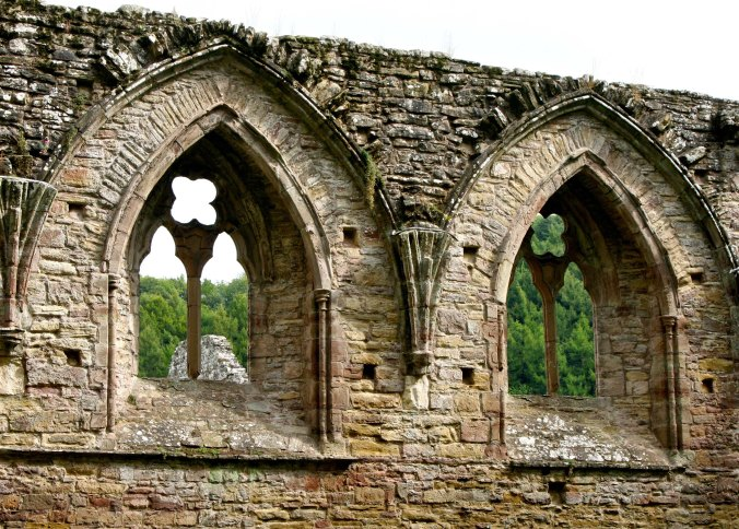 Tintern Abbey windows looking out on forests