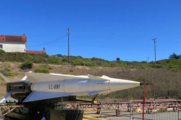 This Nike missile came out of the ground and was pointed at me when I was visiting Golden Gate National Recreation Area just north of San Francisco. I quickly moved aside and snapped its photo.