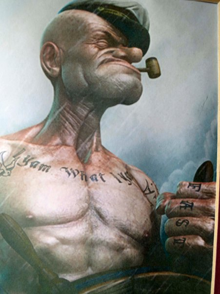 If ever there was a symbol of sailors and tattoos it was the spinach eating Popeye the Sailor Man, who yam what he yam.