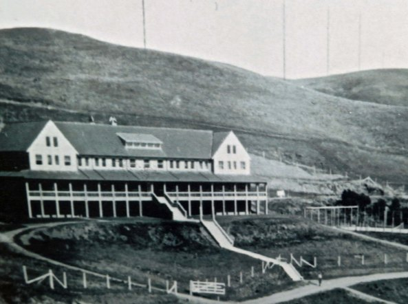 An early photo of the Marconi receiving site in the small town of Marshall on Tomales Bay.
