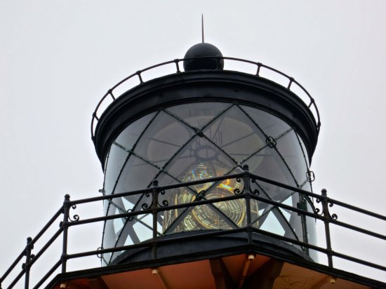 The automated, ever-rotating light on top of the lighthouse.