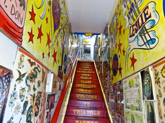 The entrance to Triangle Tattoo pulls you in and up the stairs. I was fascinated about what I might see next.