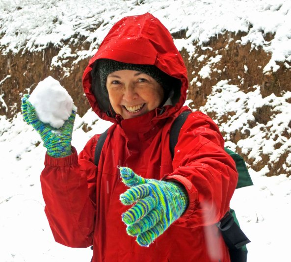 Peggy took advantage of my distraction to pack up a snowball. And yes, she threw it at me. Had you been present, I can pretty much guarantee that she would have thrown it at you.