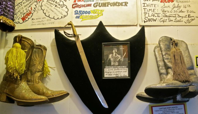 Captain Don's first sword he ever swallowed and his boots hang on display at the Triangle Tattoo and Museum.