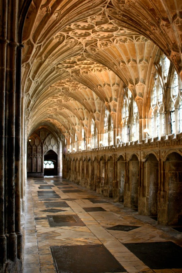 Peggy took you on a trip to England that included Gloucester Cathedral hallway that was hues in Harry Potter.