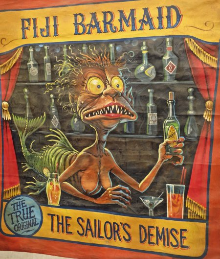 "This carnival poster is a takeoff on P.T. Barnum's first major hoax in the sideshow business, the Feejee Mermaid who had the tail of a fish and the head of the monkey. You may recall it was Barnum who said ""You can fool some of the people all of the time, and all of the people some of the time, but you can't fool all of the people all of the time."""