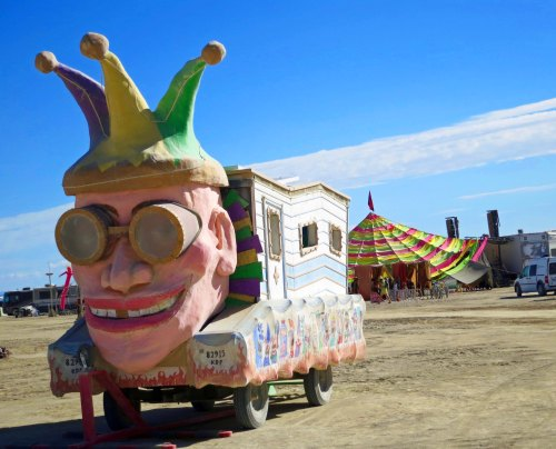 I will have a whole blog, or maybe two or three on mutant vehicles at Burning Man, but I thought this jester fit in here.