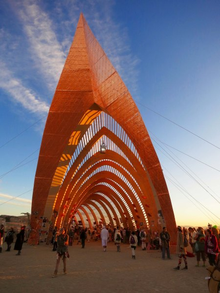 The Temple of Promise at Burning Man in 2015 is caught by the morning sun.
