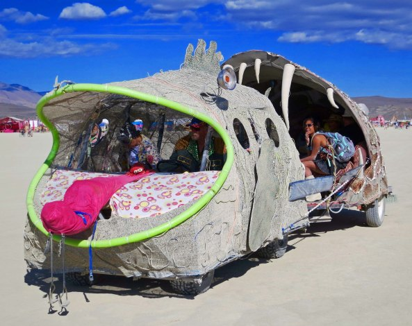 12 Fish eating fish mutant vehicle at Burning Man 2015