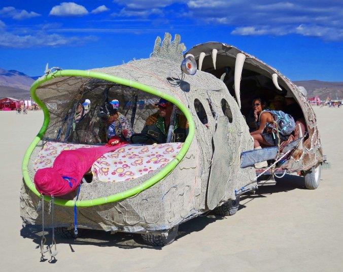 12 Fish eating fish mutant vehicle at Burning Man 2015
