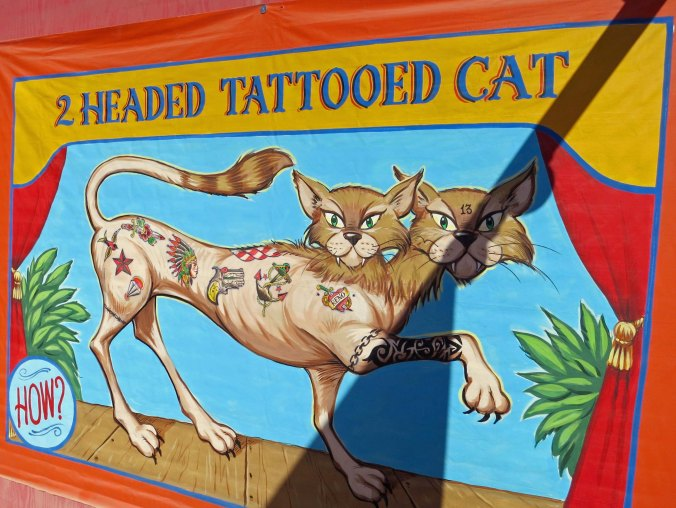 Following are three sideshow posters that I found particularly amusing including this tattooed cat.