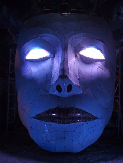 13 Night view of Medusa's face at Burning Man DG