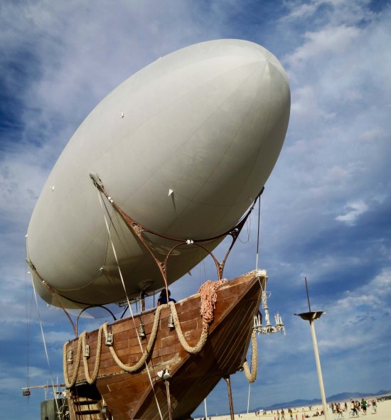 Blimp ship Mutant Vehicle at Burning Man 2015