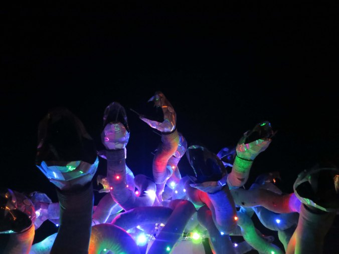 15 Night view of Medusa's snakes at Burning Man 2015