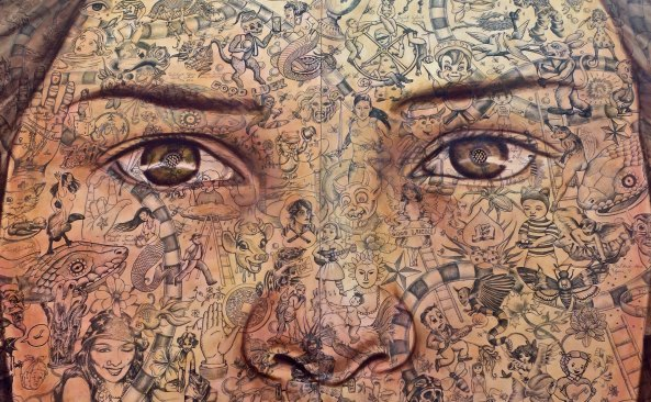A closeup of the face.