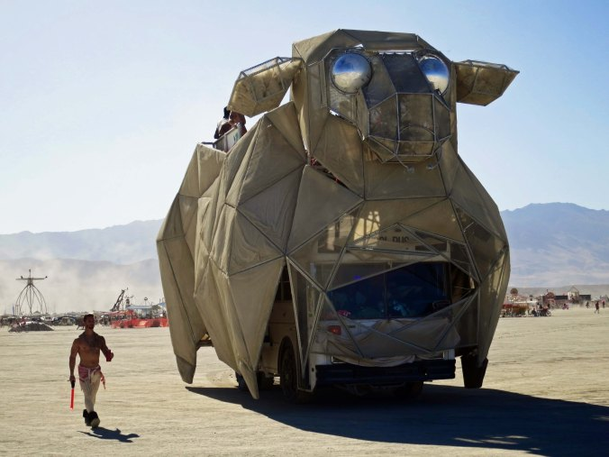18 Giant Cow mutant vehicle at Burning Man 2015