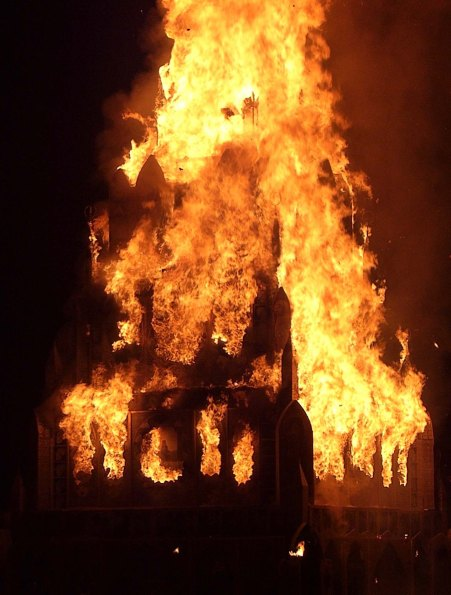 The Totem of Confession was burned immediately after the Man burned Saturday night. Sarandon's wedding dress was included.