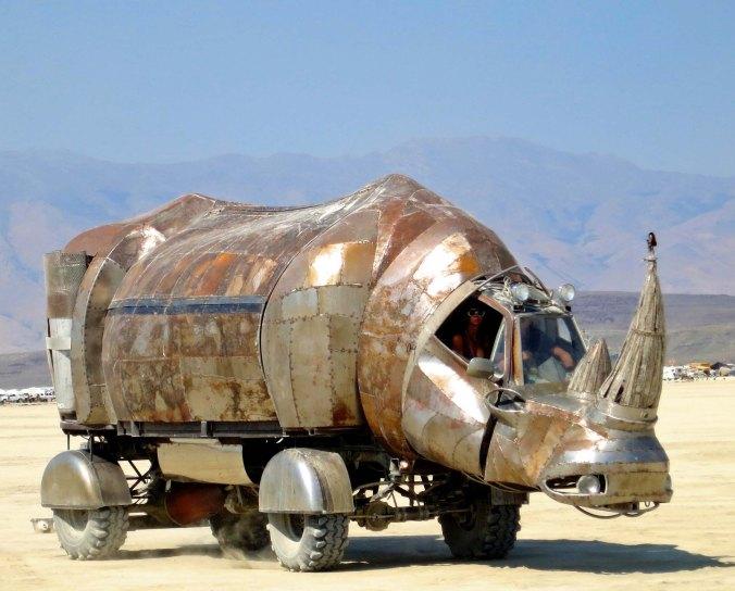 2 Rhino Art Car at Burning Man 2014