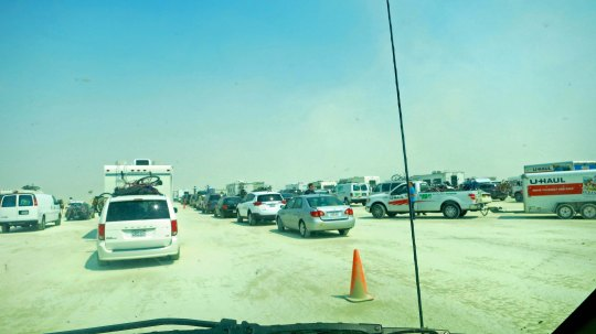 So let's say you reduce the number of RVs and bikes, put down pavement, and eliminate the dust storm, couldn't this resemble a traffic jam on an LA freeway.