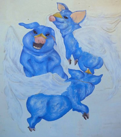 Three angelic flying pigs.