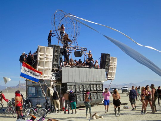This vehicle provides one of Burning Man's popular dance venues and can usually be found parked at the same place on the Playa. Check out the speakers.
