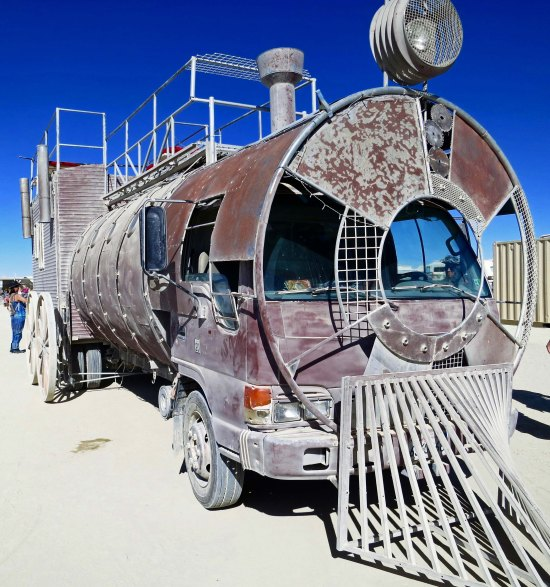 4 Train engine mutant vahicle at Burning Man 2015