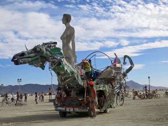 The green dragon provided a ride out to admire R-Evolution and other art pieces on the Playa.