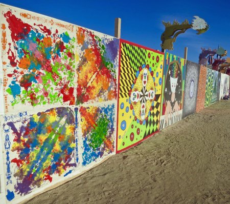 A view of one of the walls featuring a number of artists.