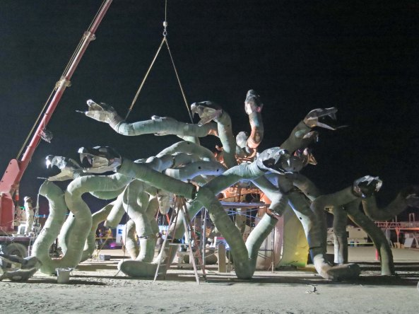 7 Building Medusa at night Burning Man 2015