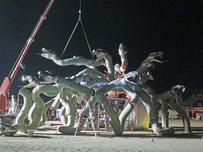 7 Building Medusa at night Burning Man 2015