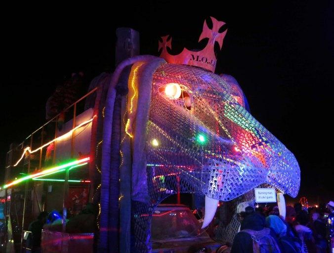 7 King of Beasts Mutant Vehicle at night Burning Man 2015