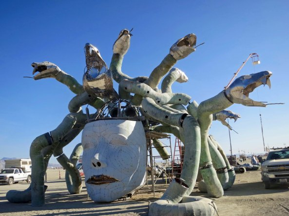 8 Early Medusa with white face at Burning Man